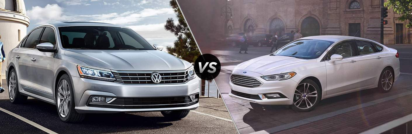 2018 Volkswagen Passat parked by a lighthouse vs 2018 Ford Fusion driving on a street near pedestrians