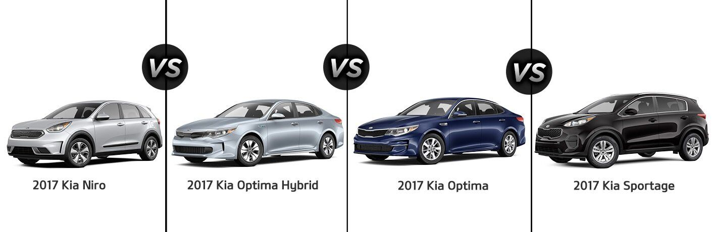2017 Kia Niro vs. 2017 Optima gas and hybrid vs. 2017 Kia Sportage