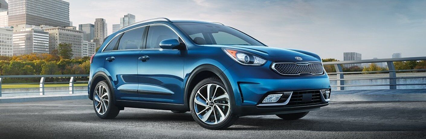 Side view of a blue 2019 Kia Niro