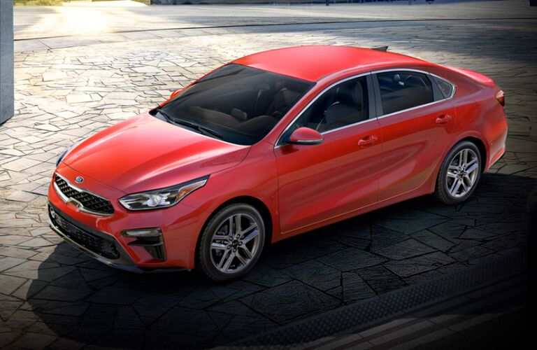 Raised view of a red 2020 Kia Forte.