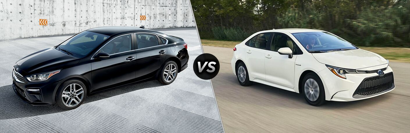 """Black 2020 Kia Forte and white 2020 Toyota Corolla, separated by a diagonal line and a """"VS"""" logo."""