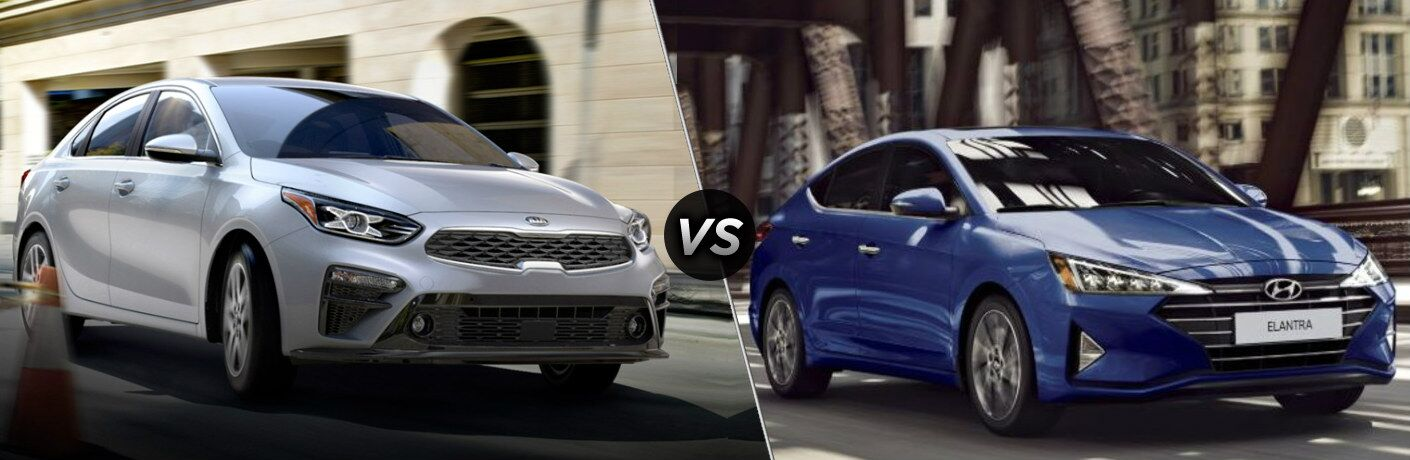 "Silver 2020 Kia Forte and blue 2020 Hyundai Elantra, seaprated by a diagonal line and a ""VS"" logo."