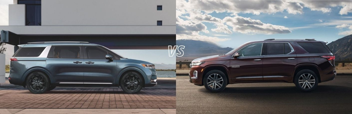 Collage showing the side view of a blue-colored 2022 Kia Carnival MPV and a red 2022 Chevrolet Traverse side-by-side