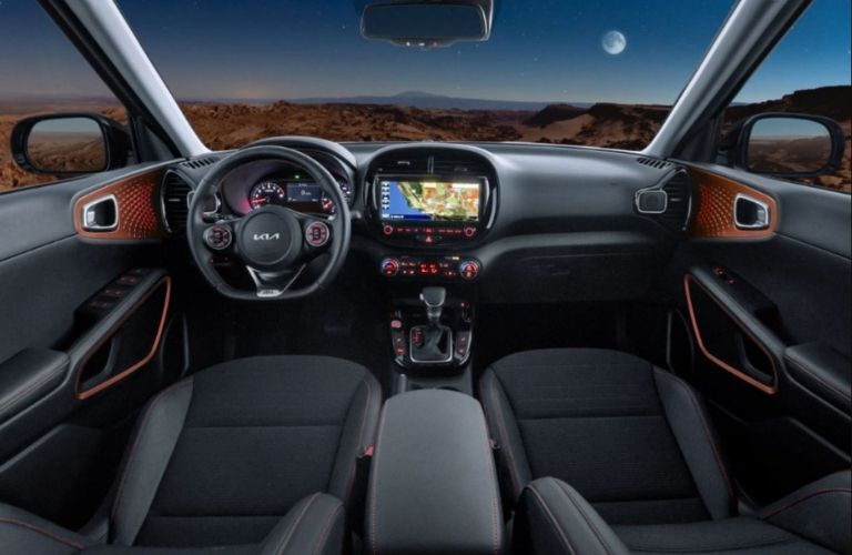 Image showing the steering wheel and dashboard of the 2022 Kia Soul