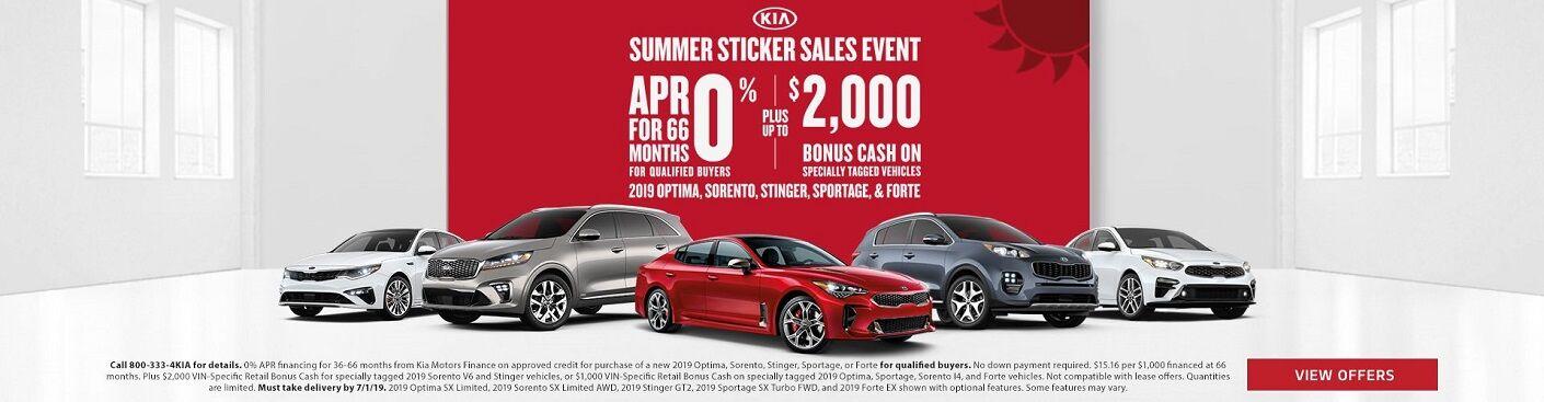Kia Summer Sticker Sales Event with new Kia models