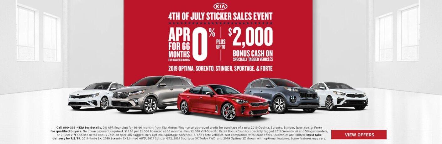 Kia Sticker Sales Event with new Kia models in image