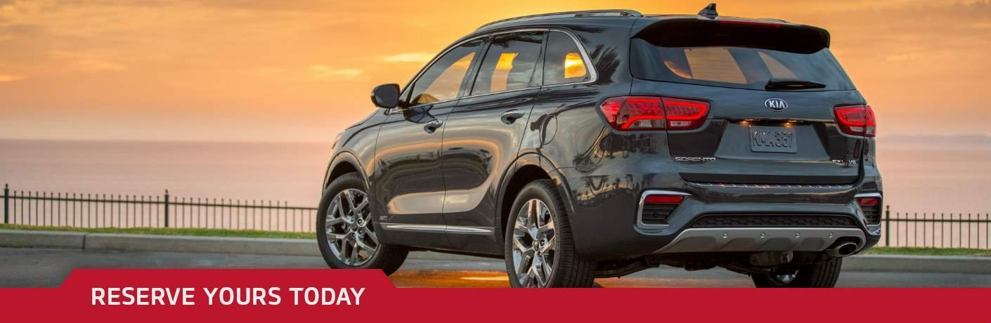 2019 Kia Sorento overlooking sunset with Reserve Yours Today text
