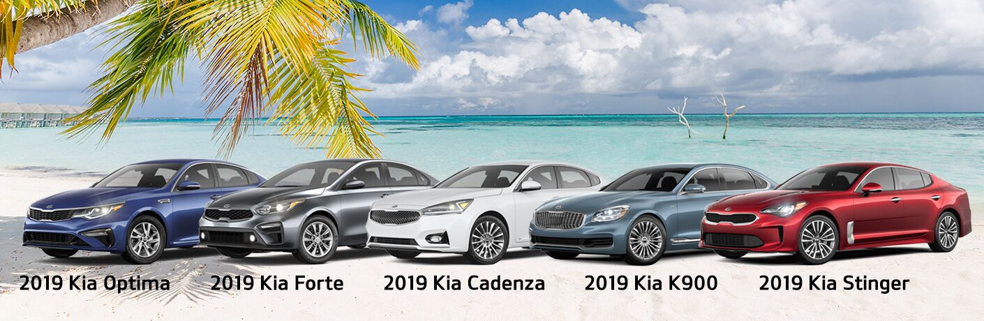 2019 Kia Cars on the beach Optima Forte Cadenza K900 and Stinger