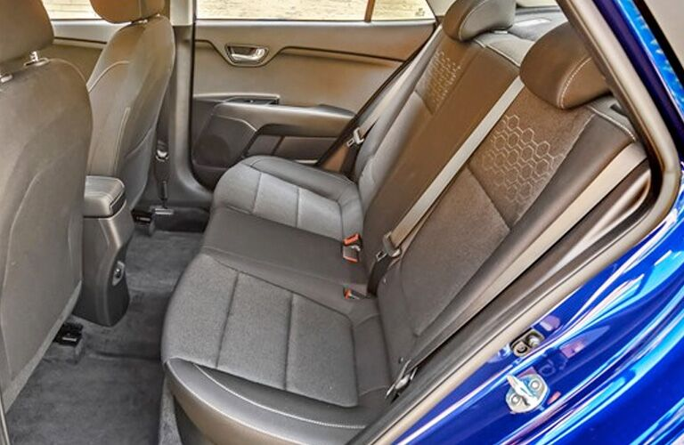 2020 Kia Rio interior side view of rear seats