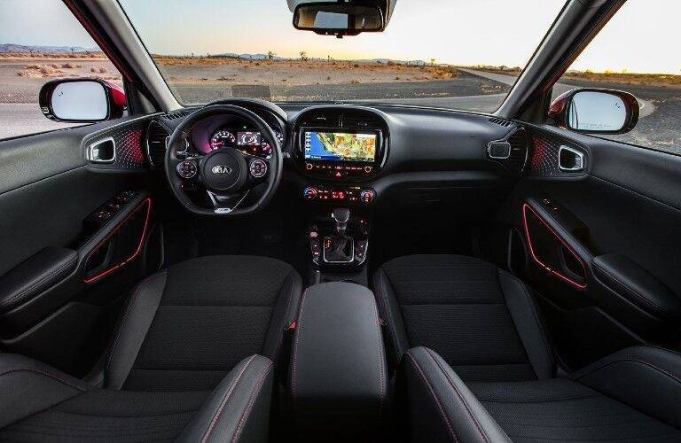 2021 Kia Soul interior front row seats dashboard and windshield