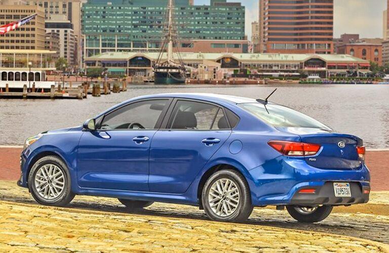 2020 Kia Rio blue exterior rear driver side parked