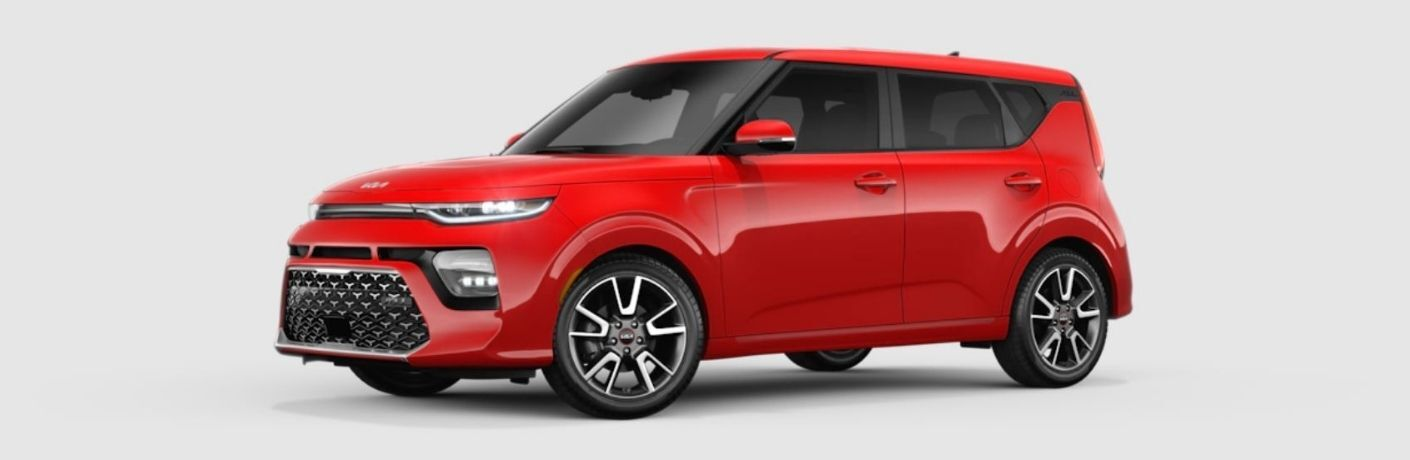 Side view of a red 2022 Kia Soul