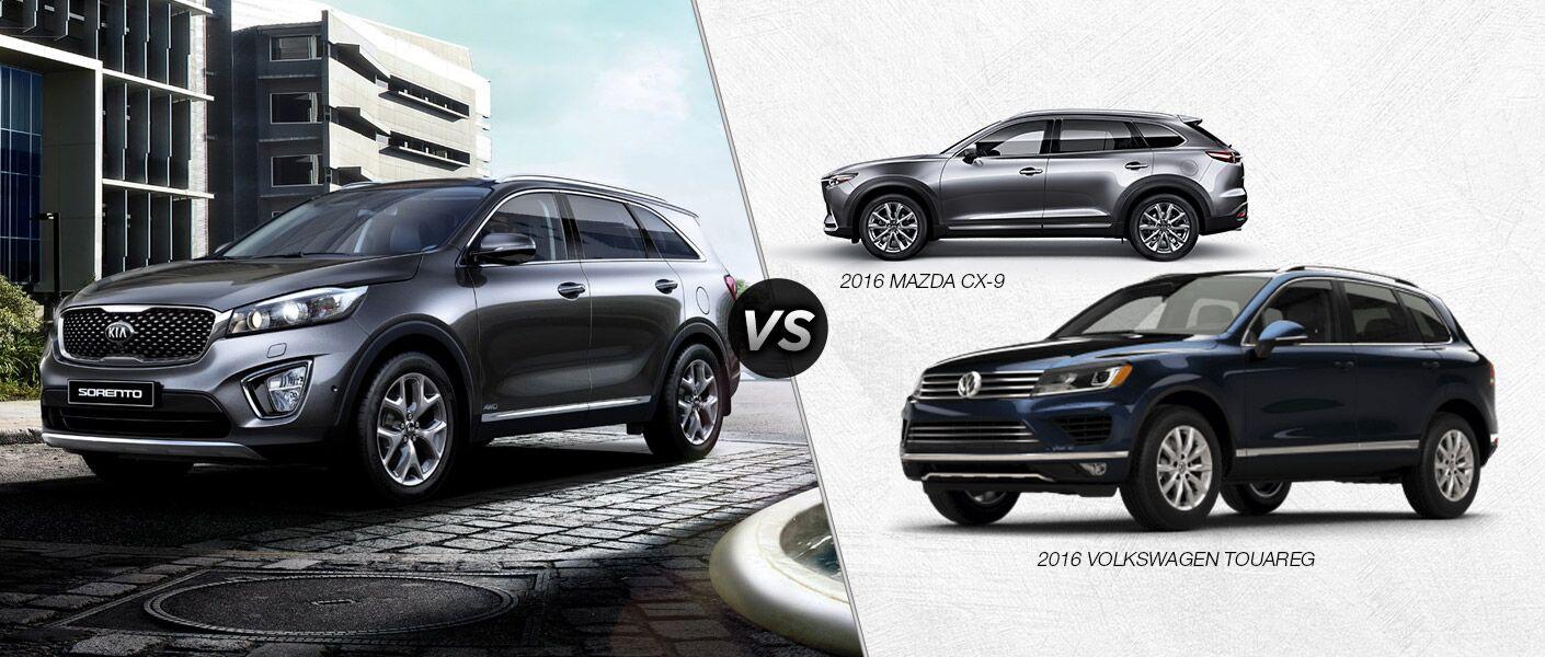 2016 Kia Sorento vs 2016 Volkswagen Touareg vs 2016 Mazda CX-9 SUVs Texoma Wichita Falls TX