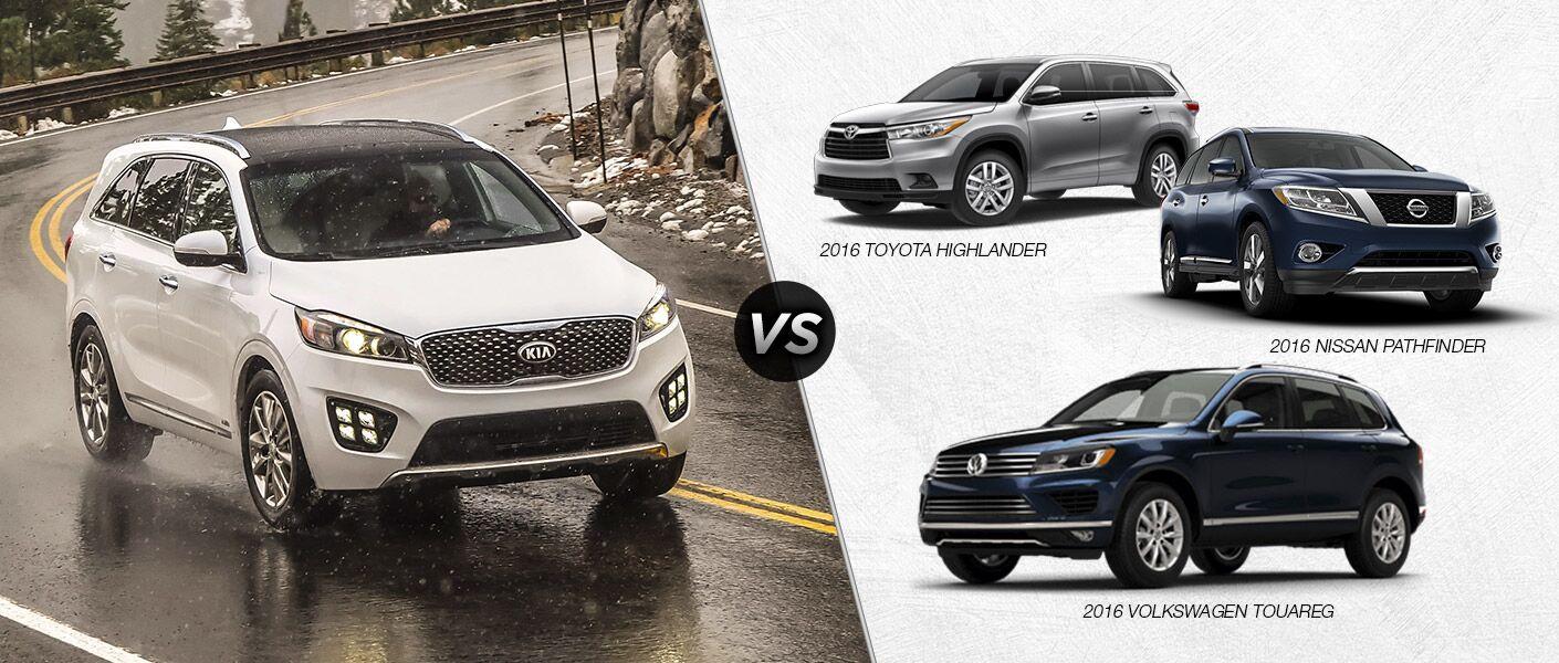 2017 Sorento vs. 2016 Highlander vs. 2016 Pathfinder vs. 2016 Touareg midsize SUVs Wichita Falls TX
