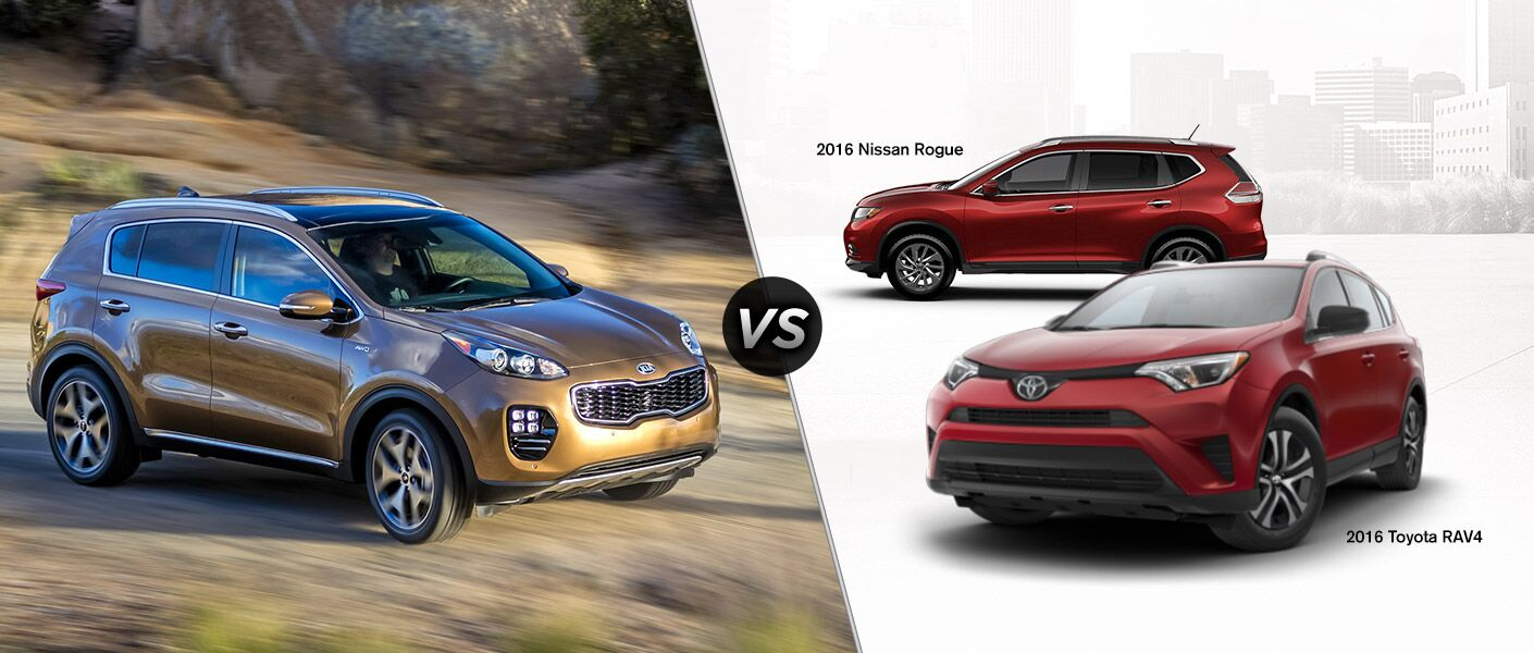 2017 Kia Sportage vs 2016 Toyota RAV4 vs 2016 Nissan Rogue small SUVs