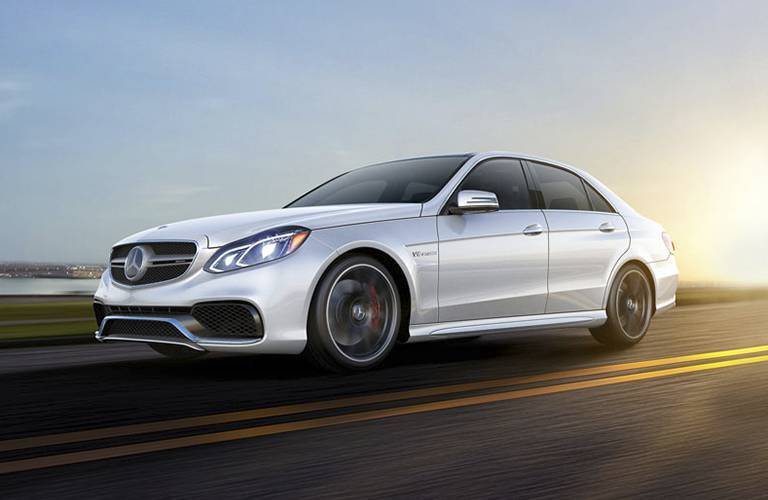2016 Mercedes-Benz E glass driving down the highway