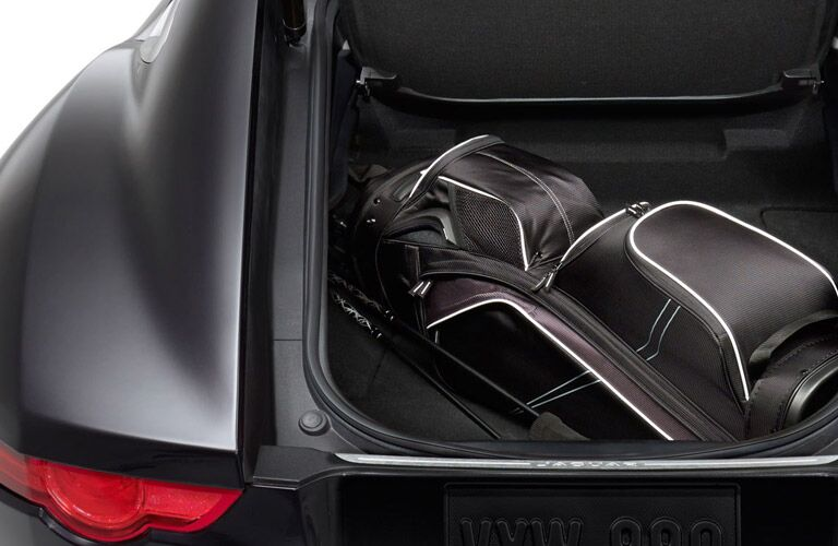2017 Jaguar F-Type with a golf bag in the trunk