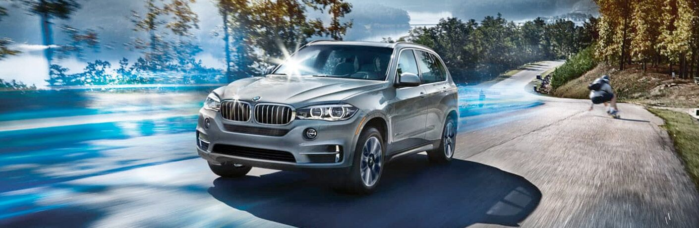 Stylized image of silver 2018 BMW X5