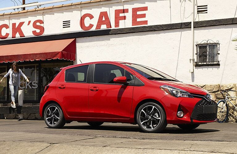 Red 2017 Toyota Yaris Side Exterior