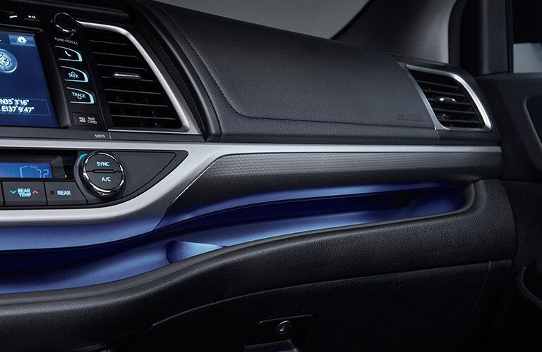 2017 Toyota Highlander Interior Dashboard with Blue Ambient Lighting