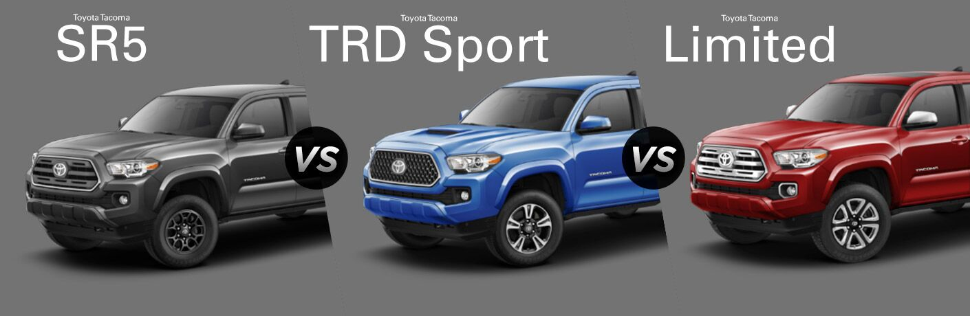 Gray 2018 Toyota Tacoma SR5 on Gray Background vs Blue 2018 Toyota Tacoma TRD Sport on Gray Background vs Red 2018 Toyota Tacoma Limited on Gray Background