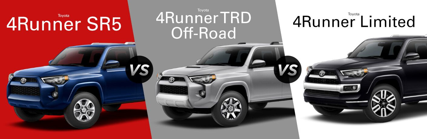 Blue 2018 Toyota 4Runner SR5 on Red Background vs Silver 2018 Toyota 4Runner TRD Off-Road on Gray Background vs Black 2018 Toyota 4Runner Limited on a White Background with Trim Level Name Text