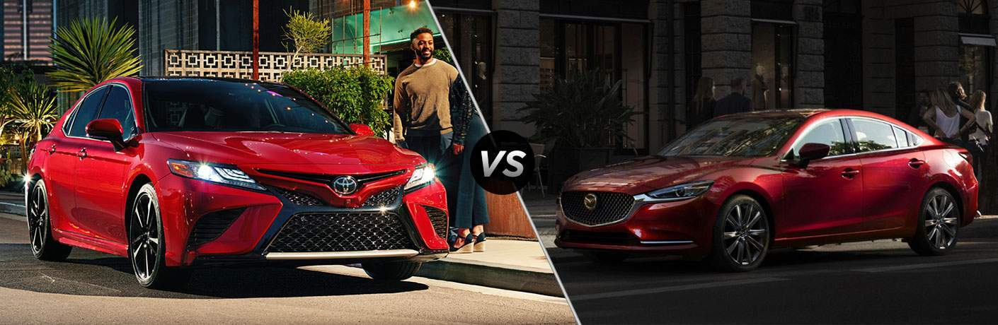 Red 2018 Toyota Camry Parked on Street at Night vs Red 2018 Mazda6 Parked on City Street