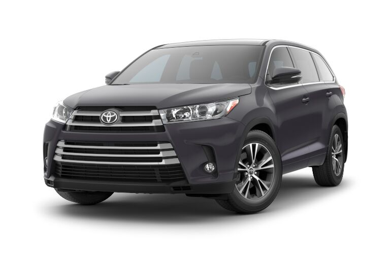 Black 2018 Toyota Highlander Front Exterior on a White Background