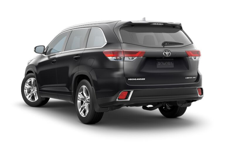 Black 2018 Toyota Highlander Rear Exterior on a White Background