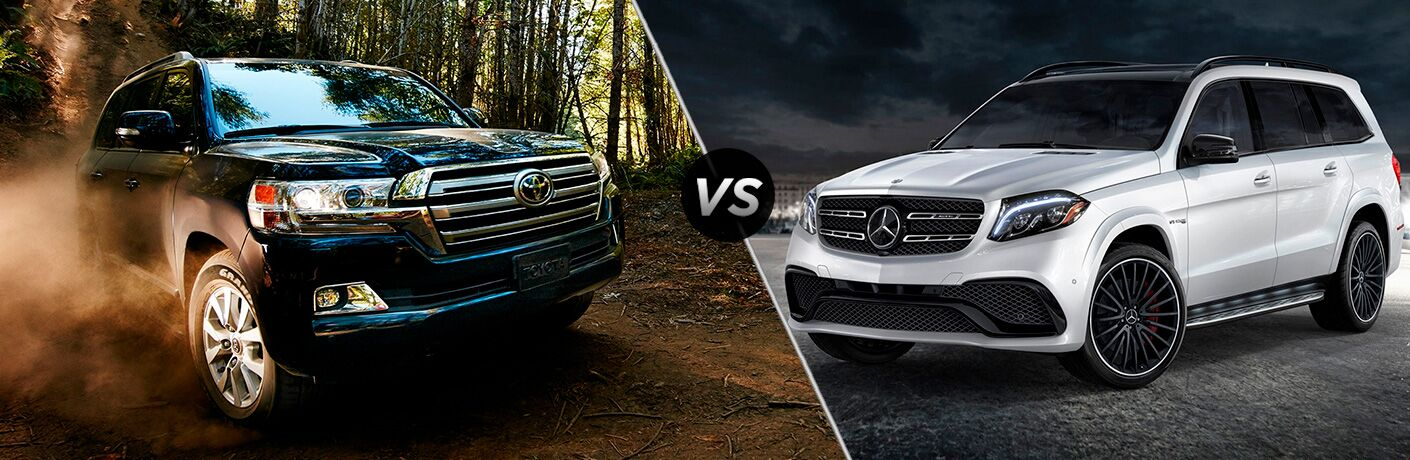 2018 Toyota Land Cruiser in green next to 2018 Mercedes-Benz GLS in silver