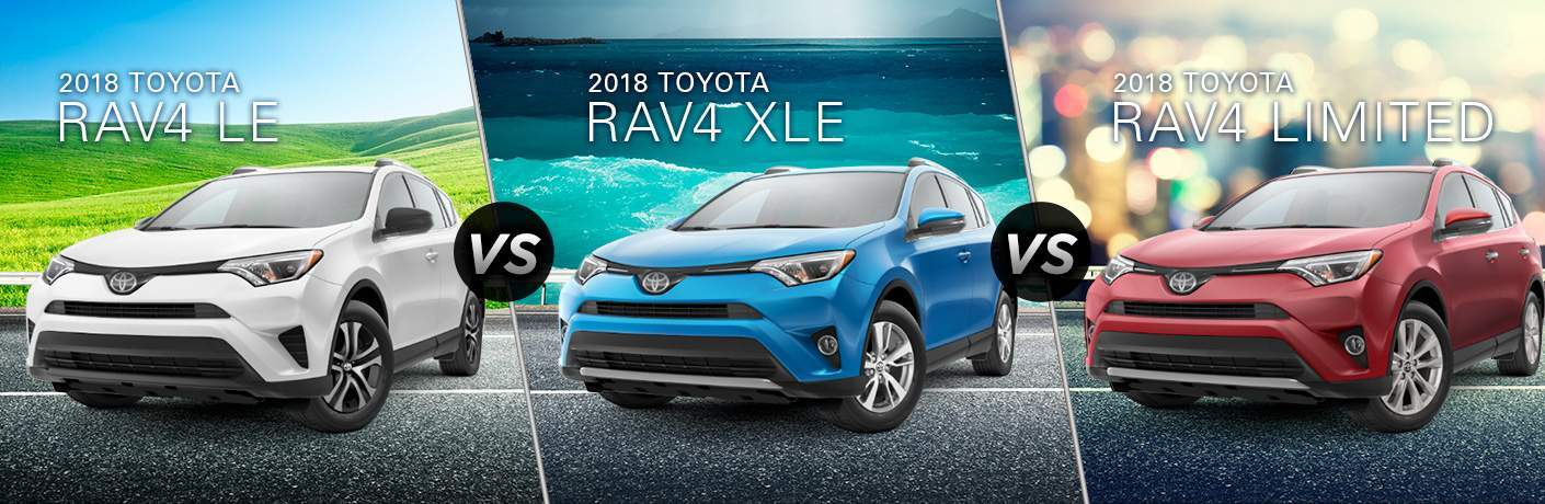 White 2018 Toyota RAV4 LE on Highway with White Text vs Blue 2018 Toyota RAV4 XLE with Water in Background and White Text vs Red 2018 Toyota RAV4 Limited on City Freeway with White Text