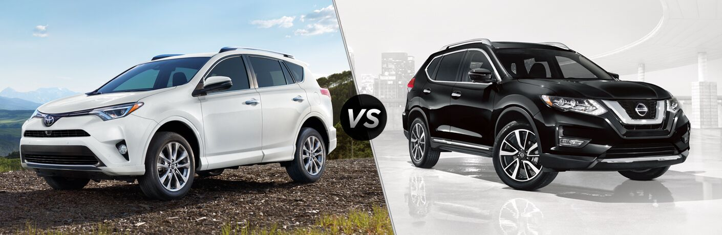 White 2018 Toyota RAV4 Platinum on the Trail vs Black 2018 Nissan Rogue on White Background with City Skyline