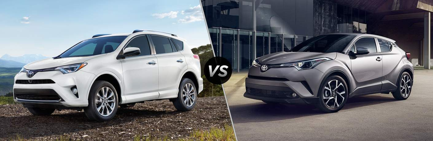 White 2018 Toyota RAV4 on Trail vs Gray 2018 Toyota C-HR in Driveway
