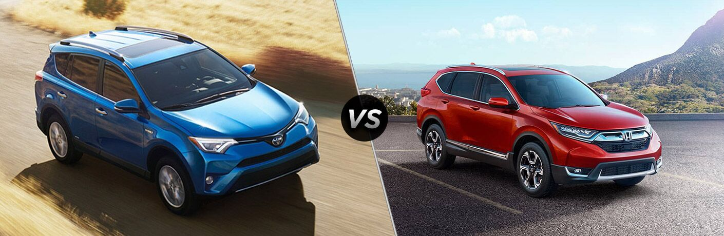 Blue 2018 Toyota RAV4 on Country Road vs Red 2018 Honda CR-V on a Coast Road