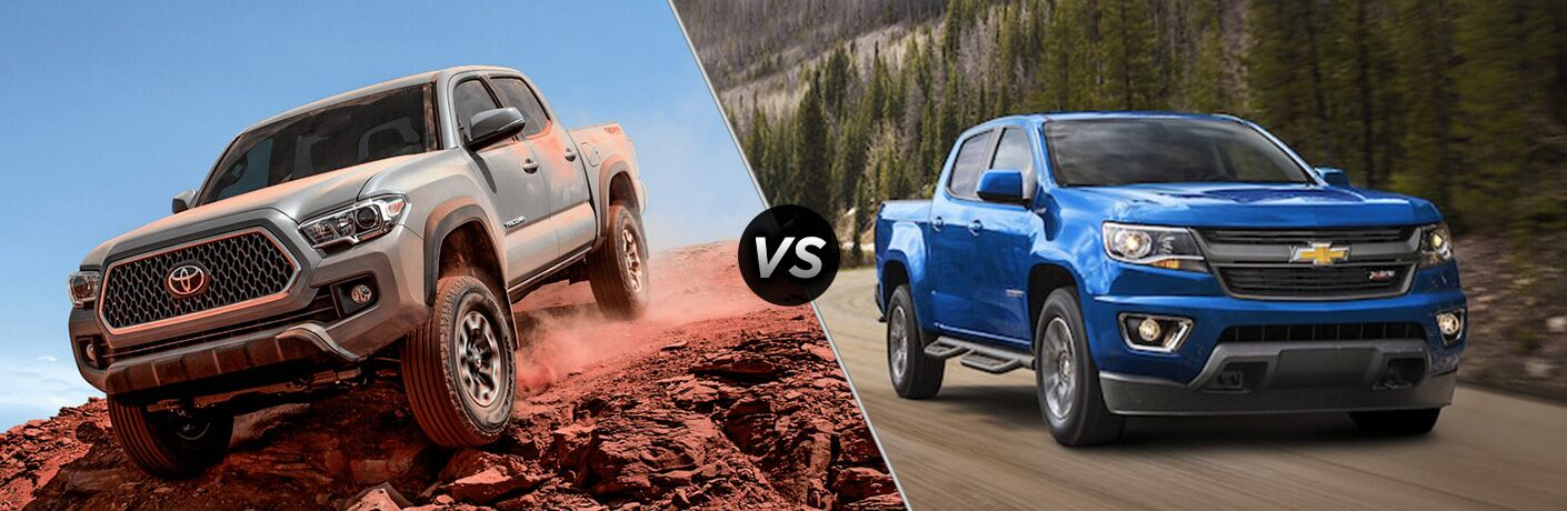 Gray 2018 Toyota Tacoma Climbing Rocks vs Blue 2018 Chevy Colorado on Country Highway