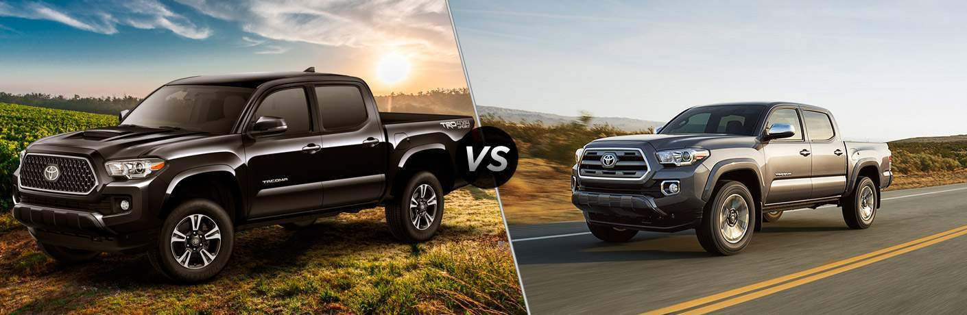 Black 2018 Toyota Tacoma in Grass Field with Sun in Background vs Gray 2017 Toyota Tacoma Driving on Highway