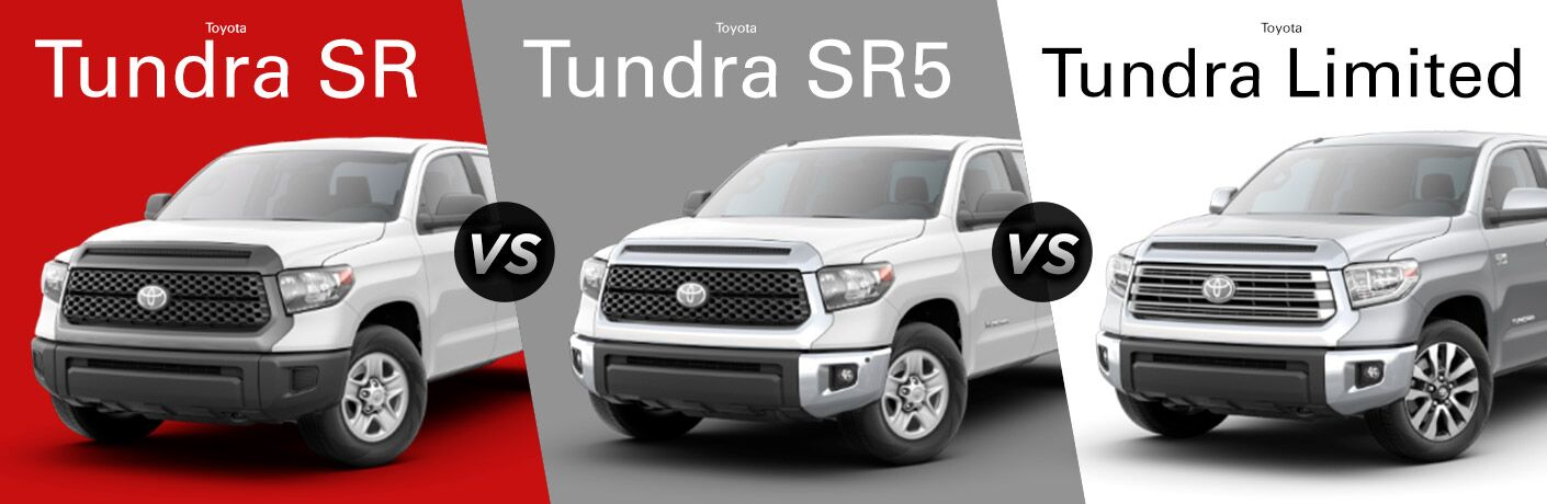 White 2018 Toyota Tundra SR on Red Background vs White 2018 Toyota Tundra SR5 on Gray background vs Silver 2018 Toyota Tundra Limited on a White Background with Trim Level Text