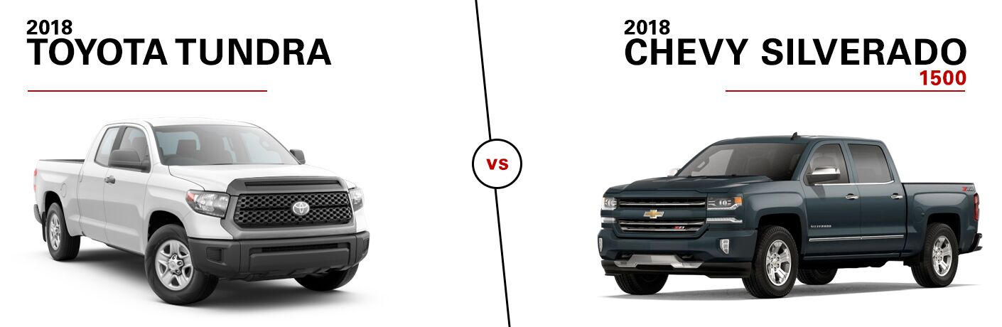 White 2018 Toyota Tundra vs Green 2018 Chevy Silverado 1500 on a White Background with Black 2018 Toyota Tundra vs 2018 Chevy Silverado 1500 Text