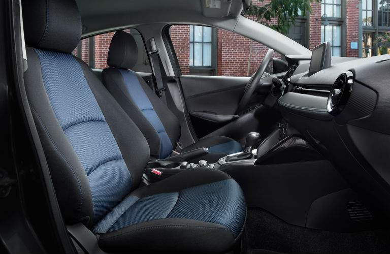Blue and Black 2018 Toyota Yaris iA Front Seat Interior