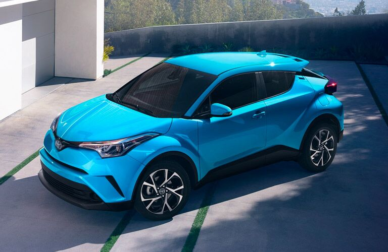 Overhead View of Teal 2019 Toyota C-HR in the Driveway