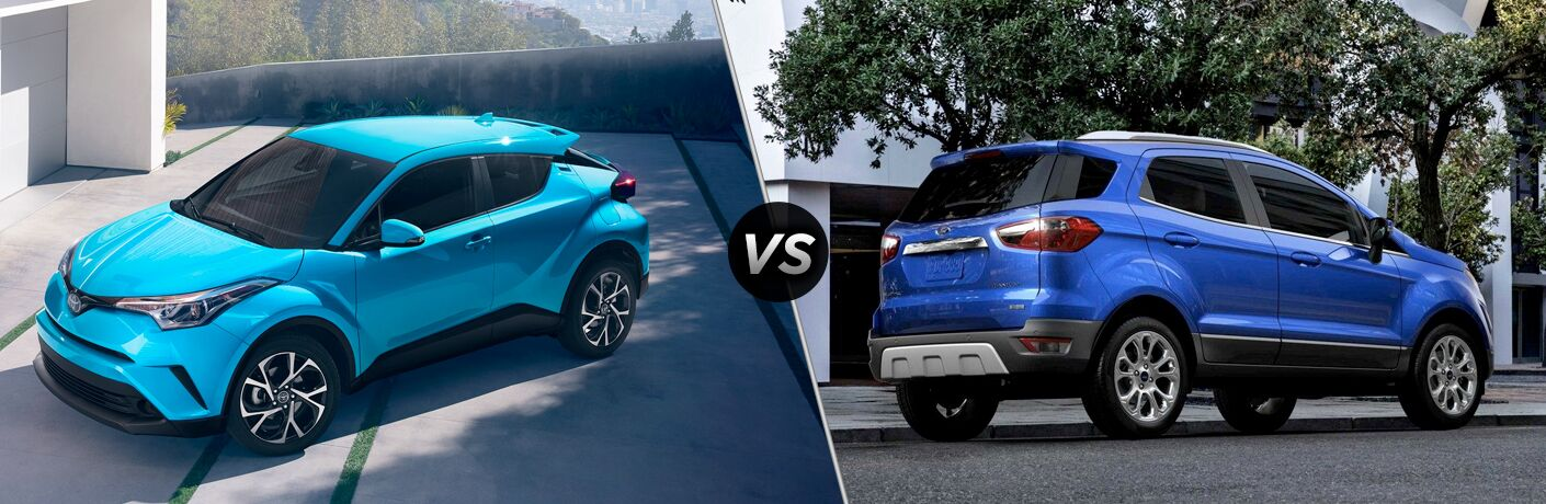 Teal 2019 Toyota C-HR Parked in a Driveway vs Blue 2018 Ford EcoSport Parked on a City Street