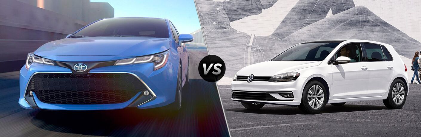 Blue 2019 Toyota Corolla Hatchback on a Freeway vs White 2019 VW Golf on a City Street
