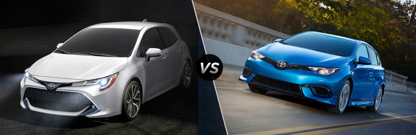 White 2019 Toyota Corolla Hatchback on Black Background vs Blue 2018 Toyota Corolla iM on a City Street