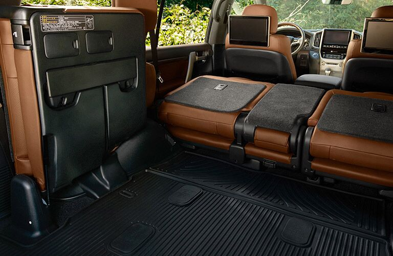 Rear to Front 2019 Toyota Land Cruiser Interior with Rear Seats Laid Flat