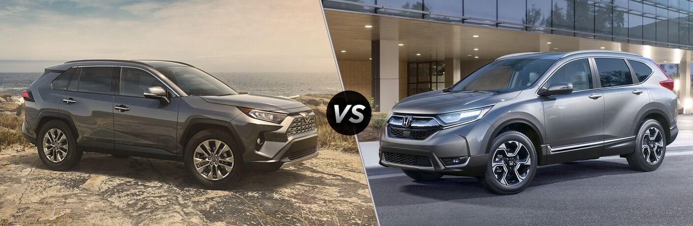 Gray 2019 Toyota RAV4 at the Coast vs Gray 2019 Honda CR-V on a City Street