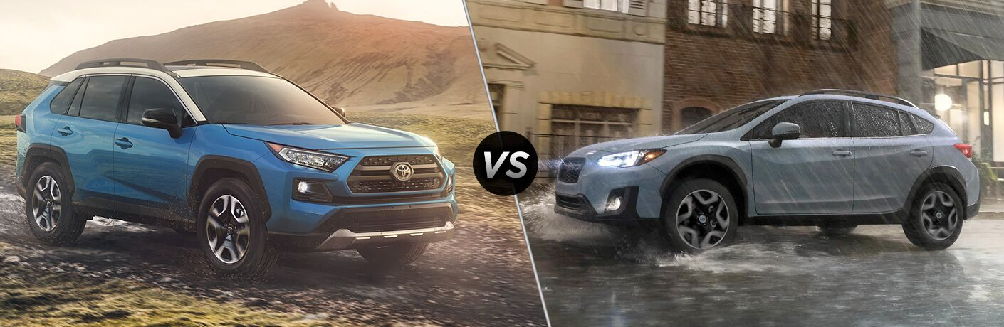 Blue 2019 Toyota RAV4 on the Trail vs Gray 2019 Subaru Outback on a Wet Road