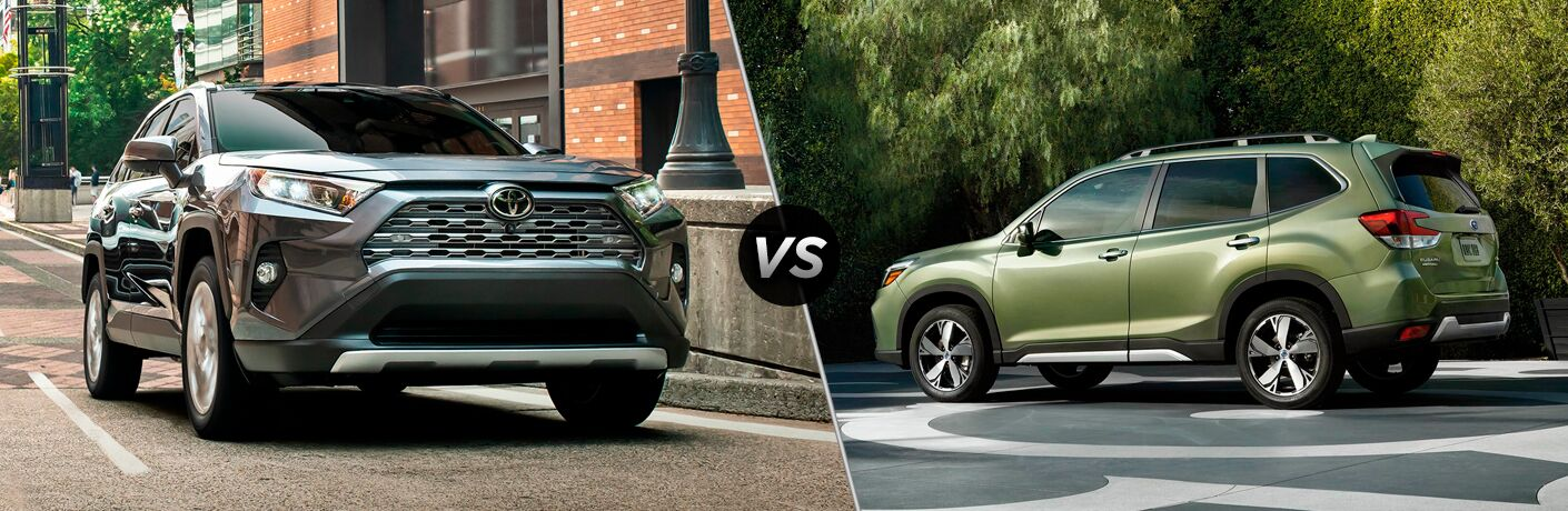 Gray 2019 Toyota RAV4 on City Street vs Green 2019 Subaru Forester on a Country Road