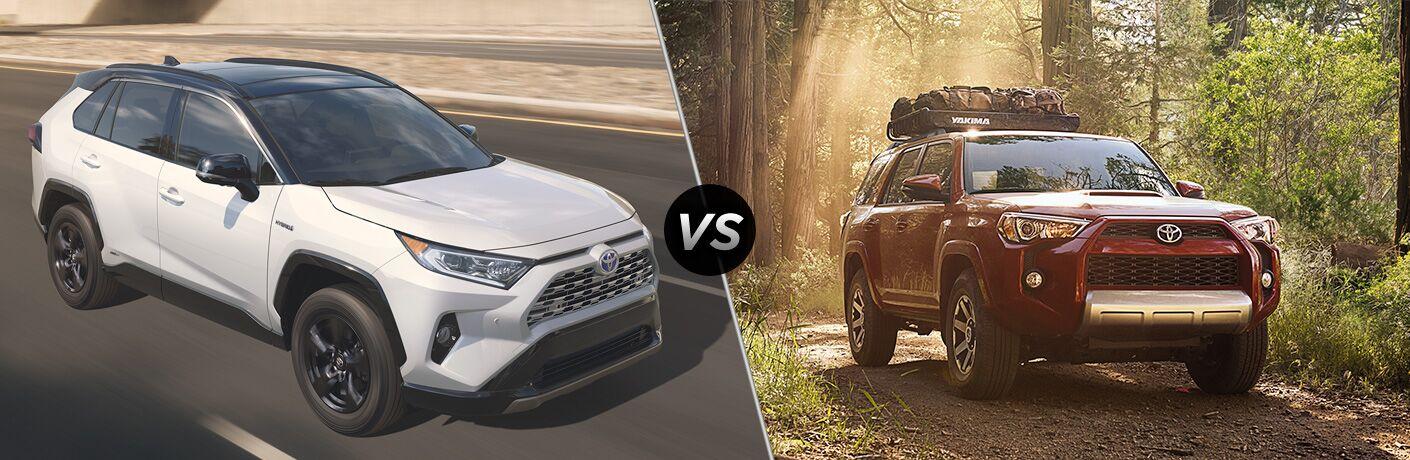 White 2019 Toyota RAV4 on Highway vs Red 2019 Toyota 4Runner on the Trail