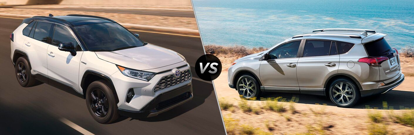 White 2019 Toyota RAV4 on Desert Highway vs Silver 2018 Toyota RAV4 on a Coast Road
