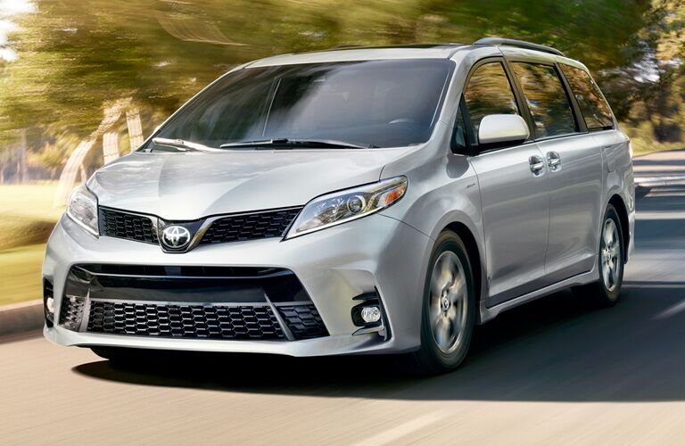 Silver 2019 Toyota Sienna Front Exterior on a Country Road